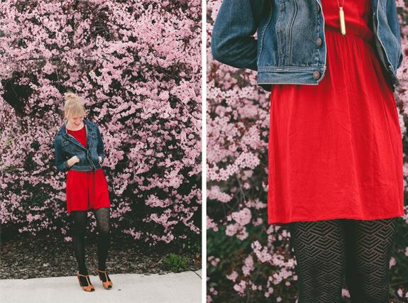 jean jacket, bright dress, black tights, t-straps