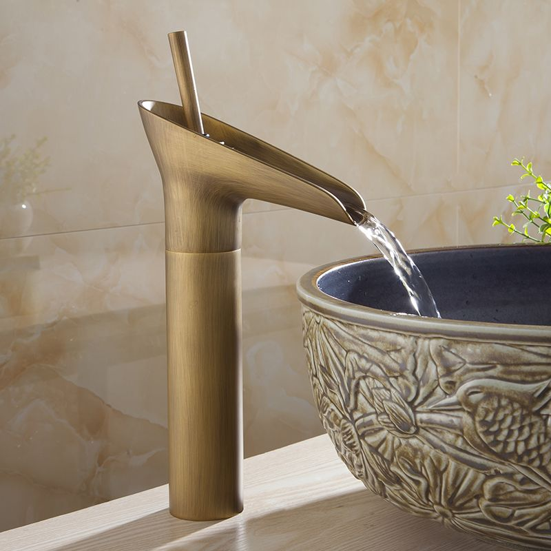 Best Price Basin Faucets Waterfall Bathroom Golden Faucet Single