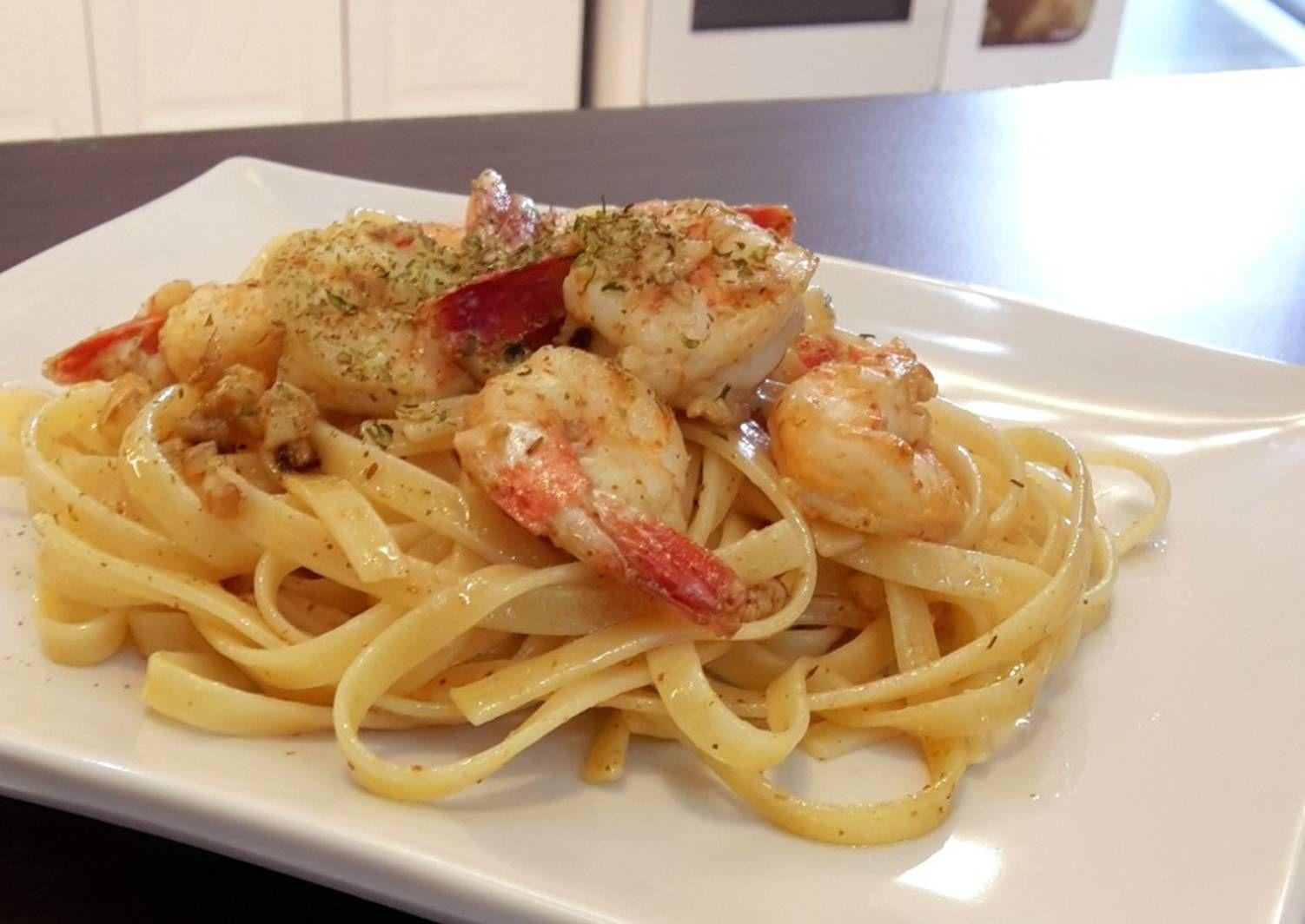 Resep Fettucini Spaghetti Anglio Olio Seafood Oleh Amei Resep Di 2020 Resep Masakan Masakan Resep