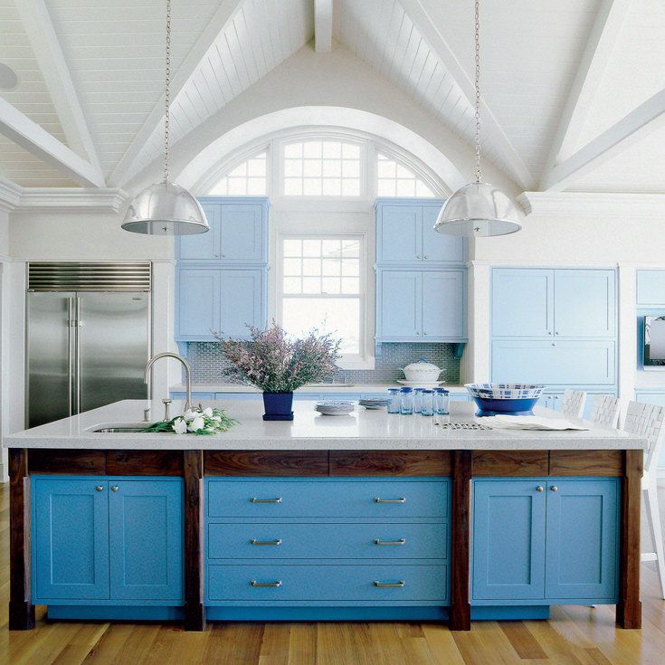 Two-Tone Blue Kitchen - Using Color in the Kitchen - Coastal Living