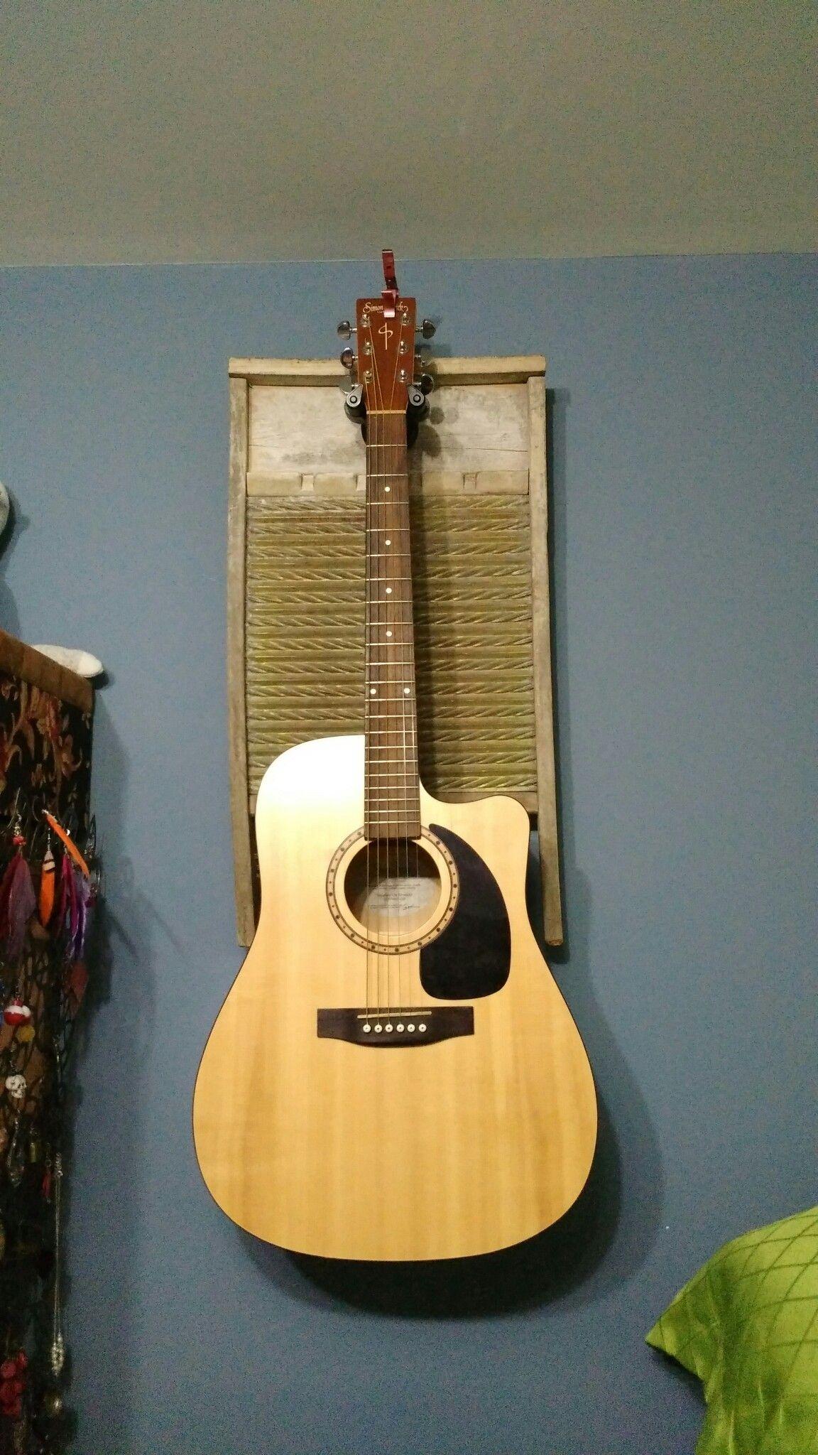 Diy old washboard turned into guitar wall hanger guitar