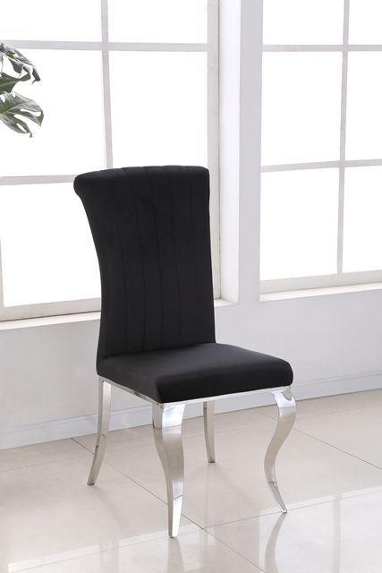 Liyana Black Velvet Dining Chairs Soft Velvet With Chrome Legs