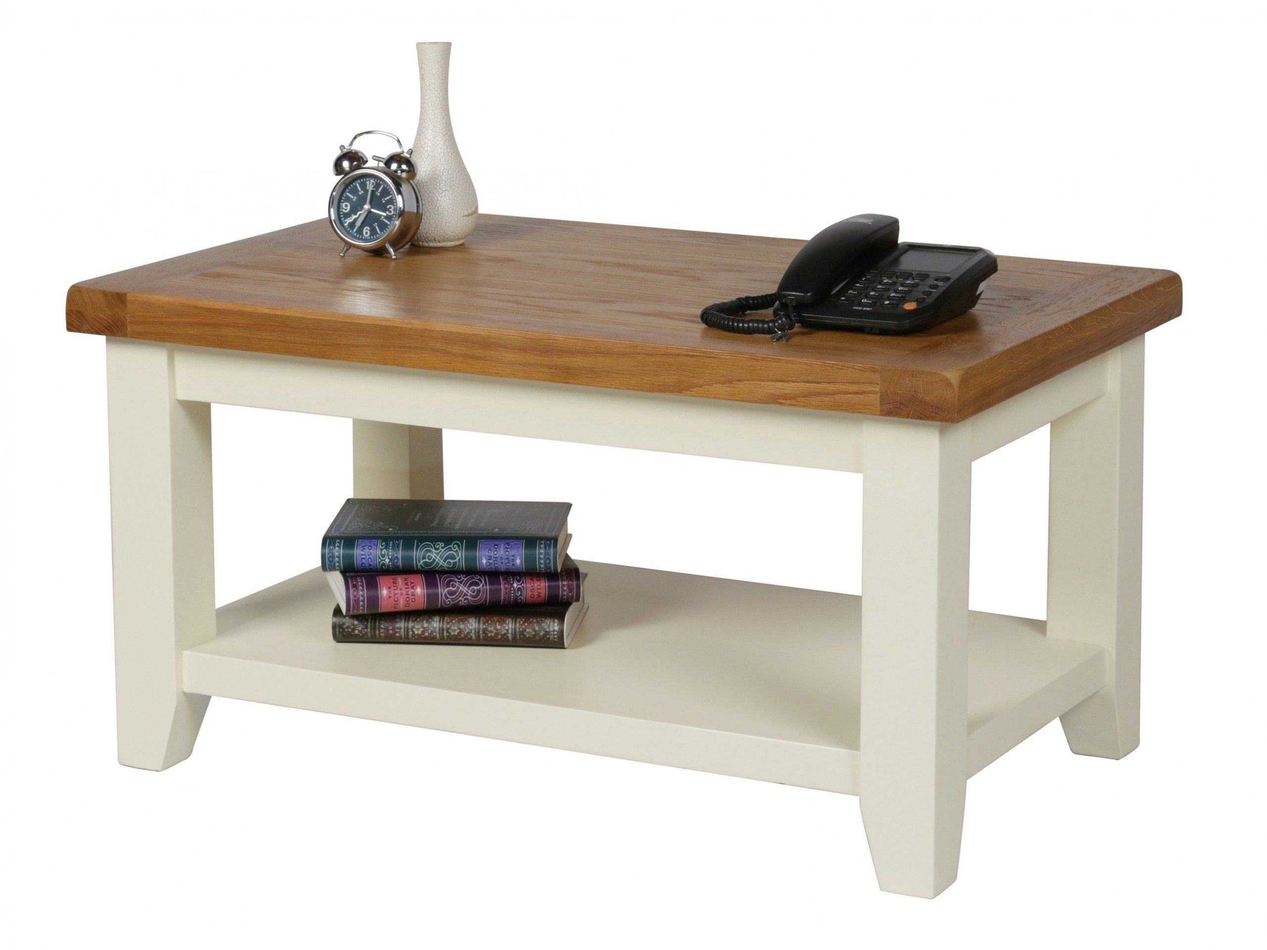 The stunning cream painted Country Cottage Coffee Table with shelf