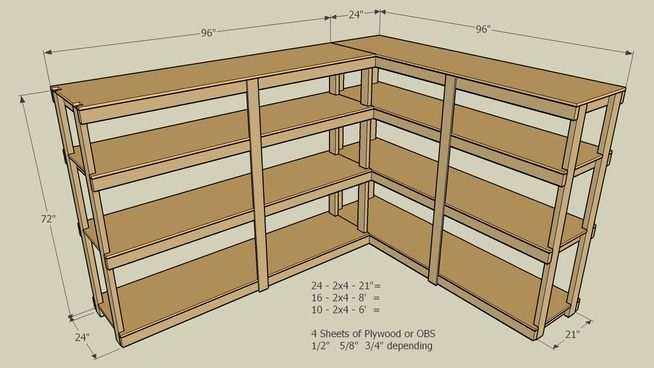 Large Preview Of 3d Model Of Storage Shelf 2x4 Diy Storage Shelves Basement Storage Shelves Basement Storage