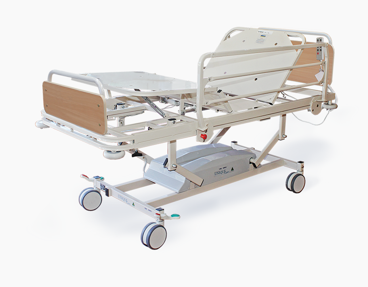 Customizable beds at the medical facility have rails on