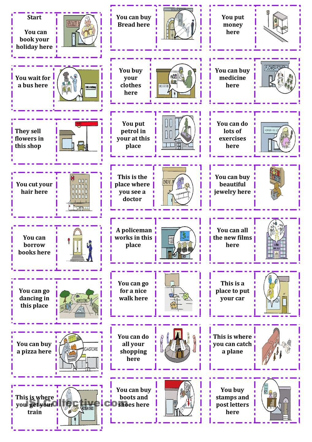 Places In Town Dominoes English Worksheets For Kids English Activities Teaching English [ 1440 x 1018 Pixel ]