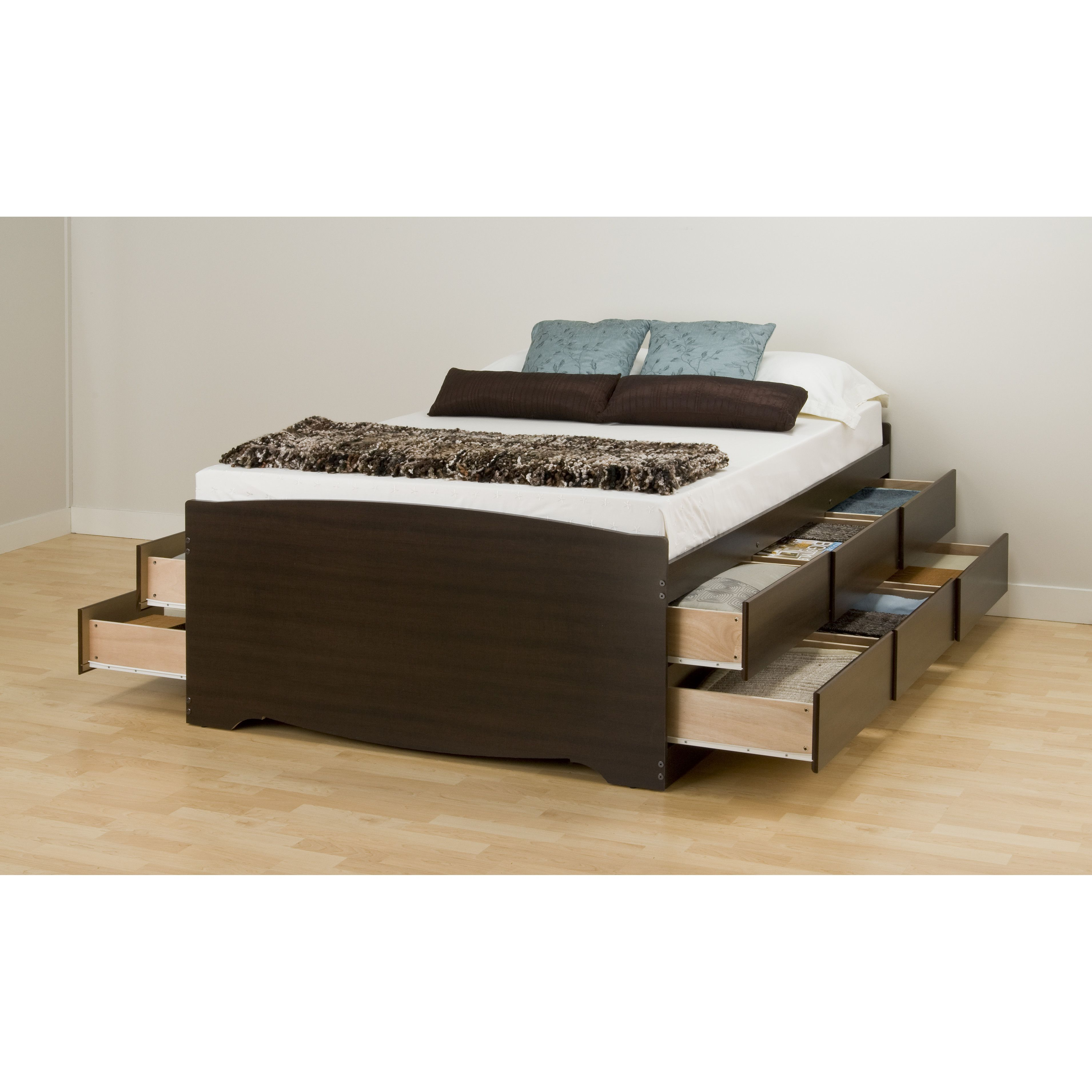 customer image zoomed bed with drawers storage queen platform black frame headboard