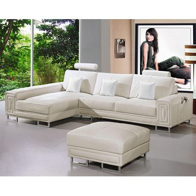 Low cost option Hokku Designs Martini Leather Sectional AllModern