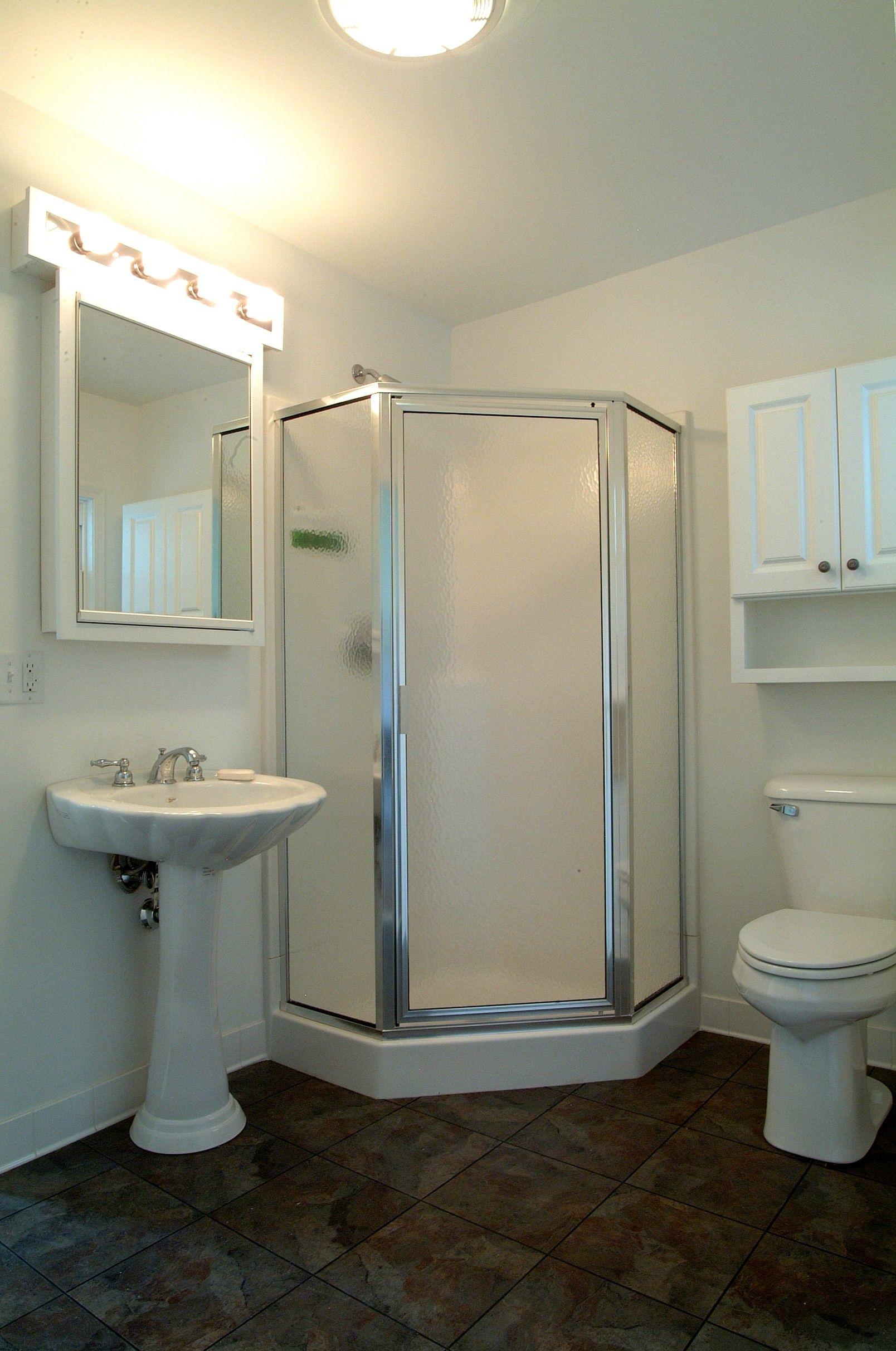 Corner Shower Cheap basement remodel, Bathroom design