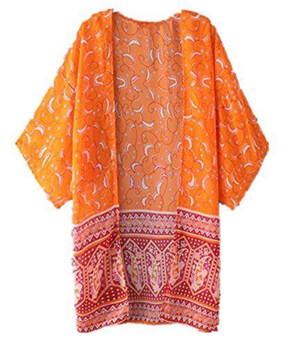 Koly Manteau Femme Femmes Boho National Imprim/é en Mousseline De Soie Ch/âLe Kimono Cardigan Tops Cover Up Blouse Veste Femme