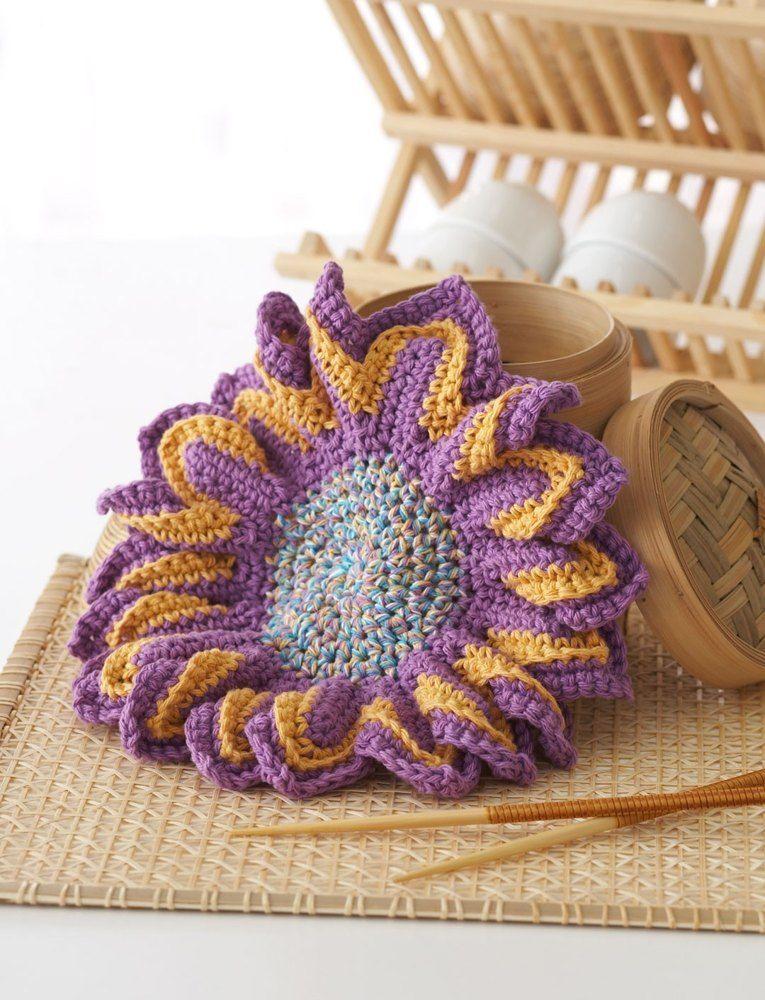 Plum Blossom Dishcloth in Bernat Handicrafter Cotton ...