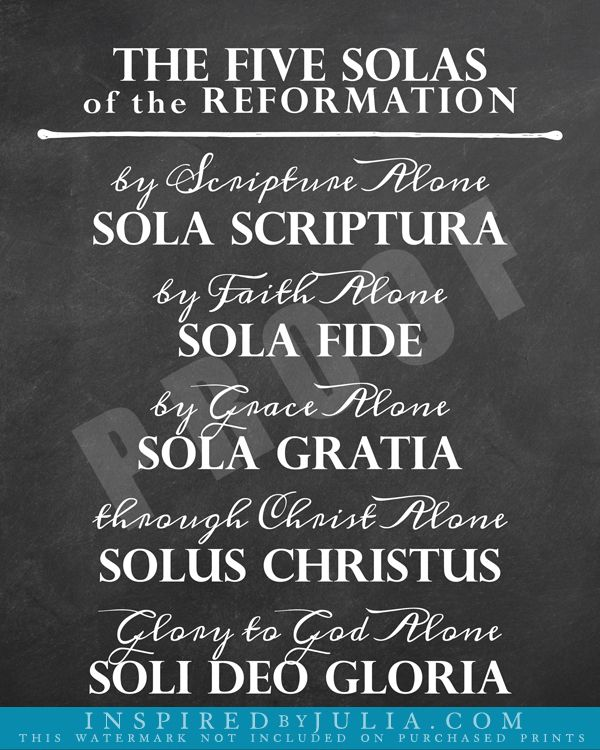 5 Solas of the Reformation | Inspirational Word Art | Hymn art