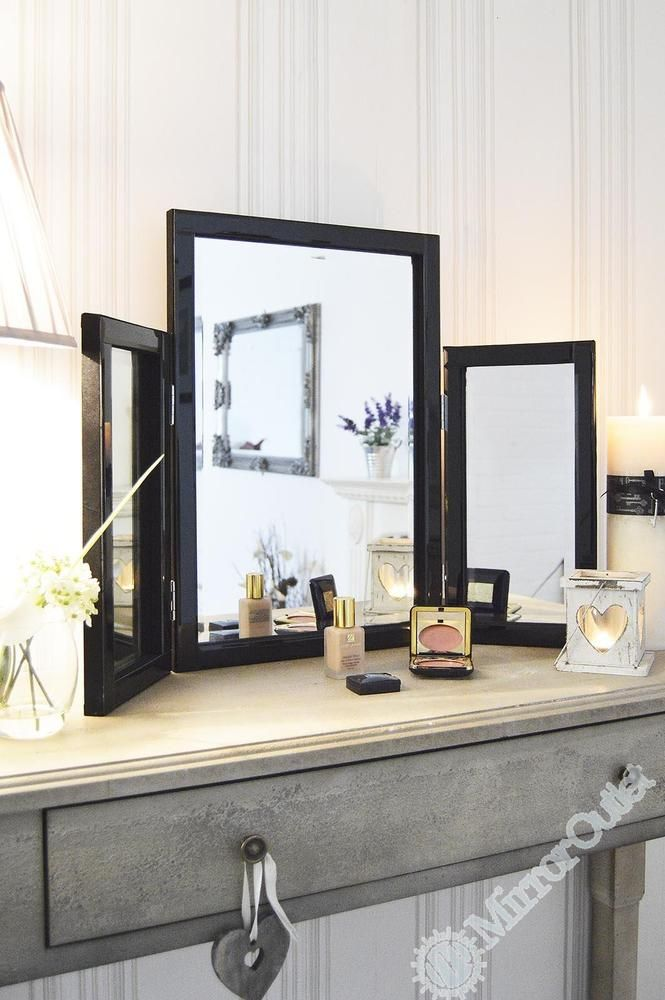 Best Modern Black Glass Venetian Dressing Table Mirror 1Ft10 X 400 x 300