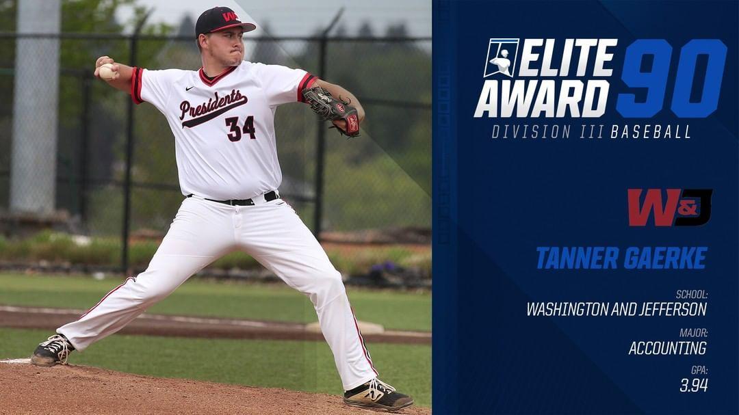 Congratulations To Tanner Gaerke Of Wjathletics The 2019 Elite90 Award Winner For Diii Baseball Whyd3 Congratulations To Tan Baseball Award Winner Winner
