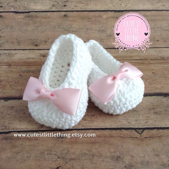 White Crochet Baby Booties, Christening Shoes, Baptism Shoes, Pink ...