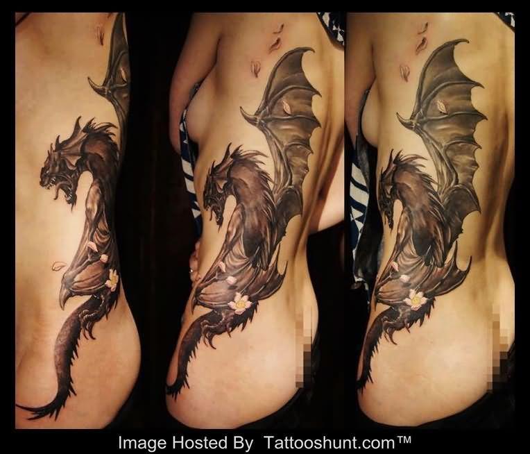 3d-dragon-tattoo-on-girl-side-rib.jpg (764×654) | tattoo's ...