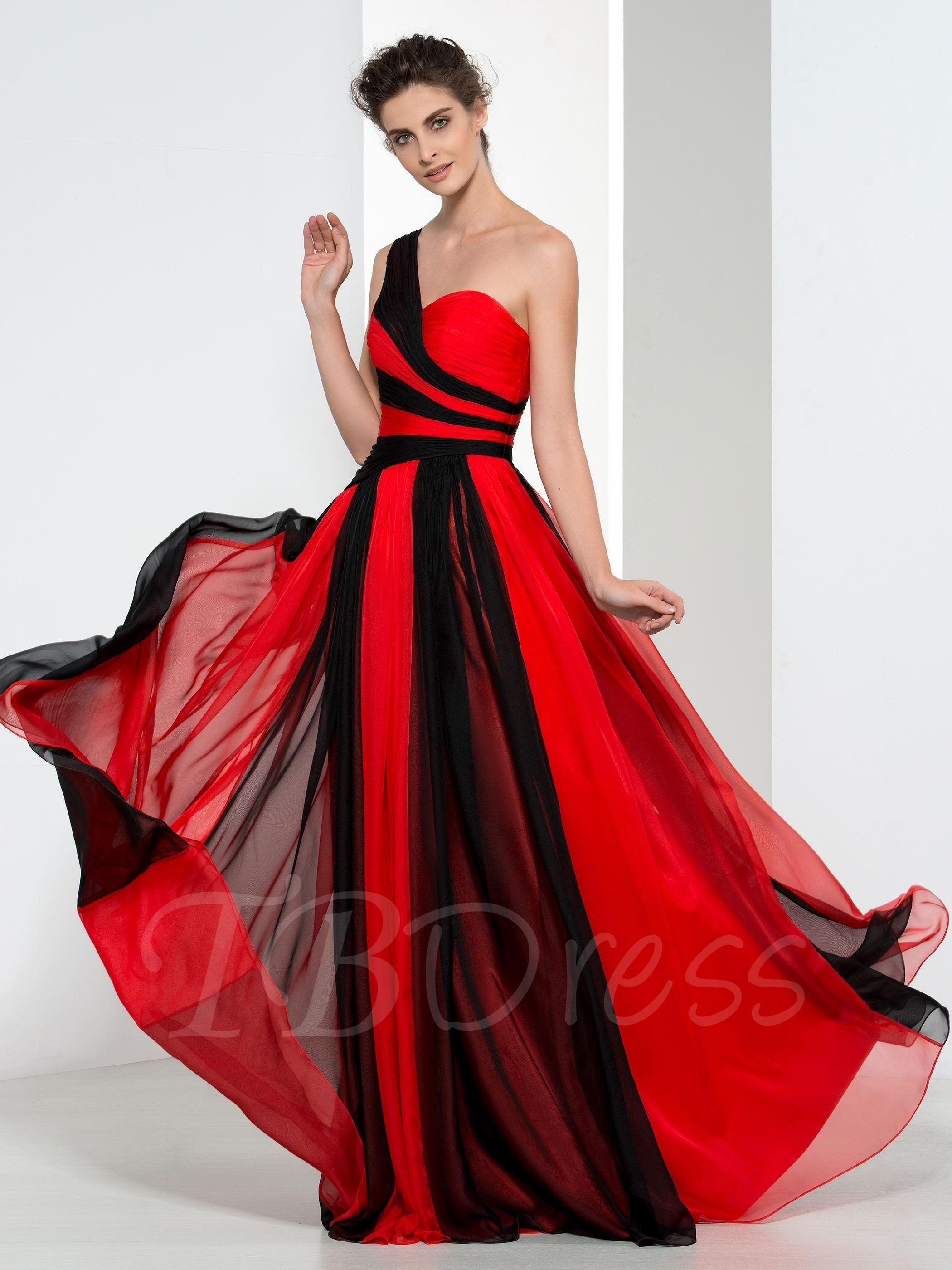 Adorewe tbdress oneshoulder contrast color long evening dress
