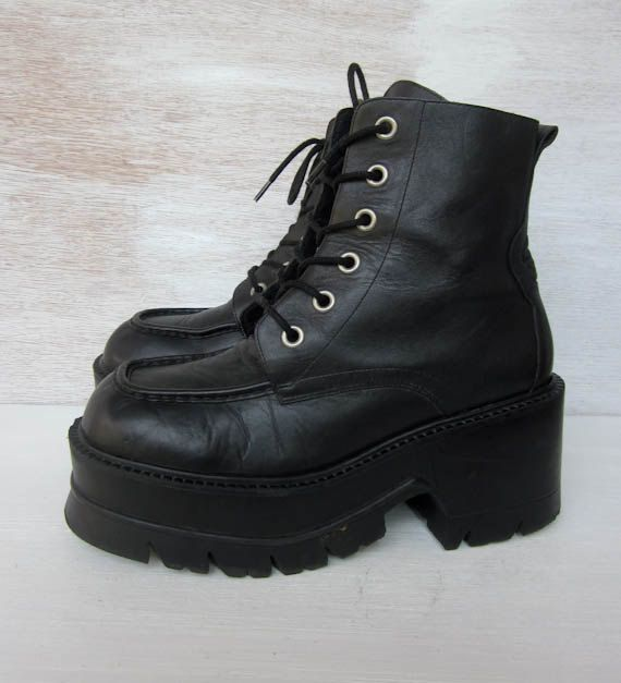 RESERVED vintage 90's black leather platform lace up boots goth grunge womens 10. $104.00, via Etsy.