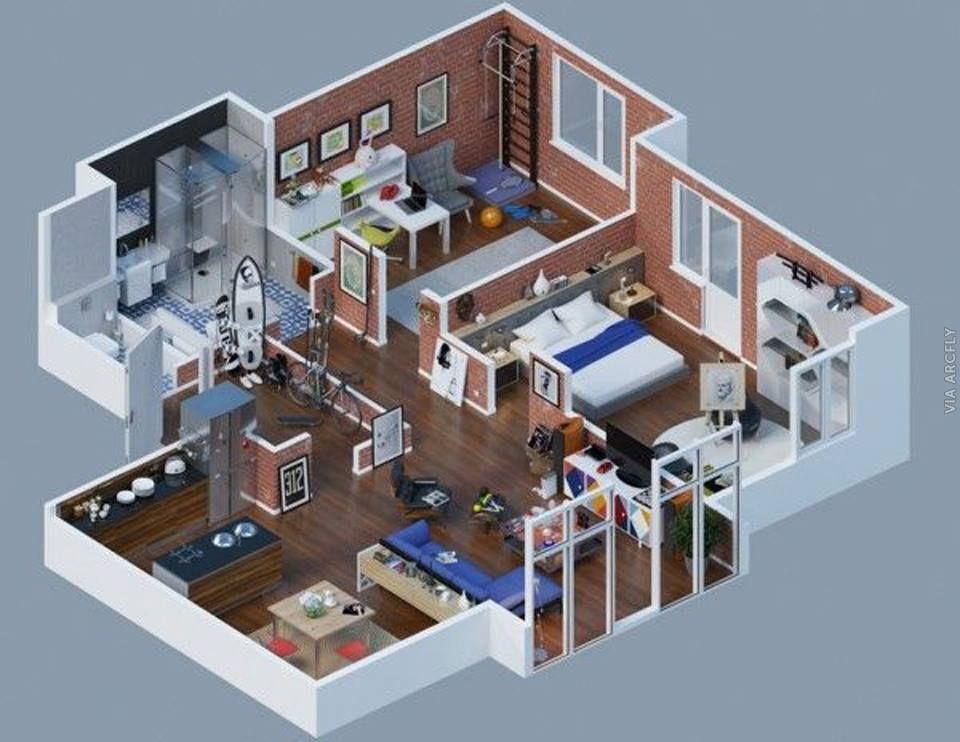 Dekorasi Rumah Minimalist 50 Denah Rumah Minimalis 3d 3 Kamar Tidur 2 Lantai Dan 2 Kamar Tidur Denah Rumah Desain Apartemen Desain