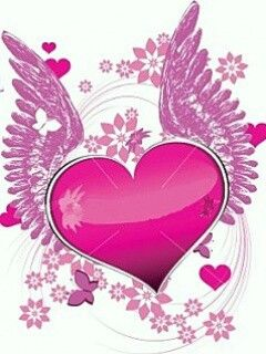 Hearts Flowers And Butterflies Corazon Con Alas Fondo Corazones