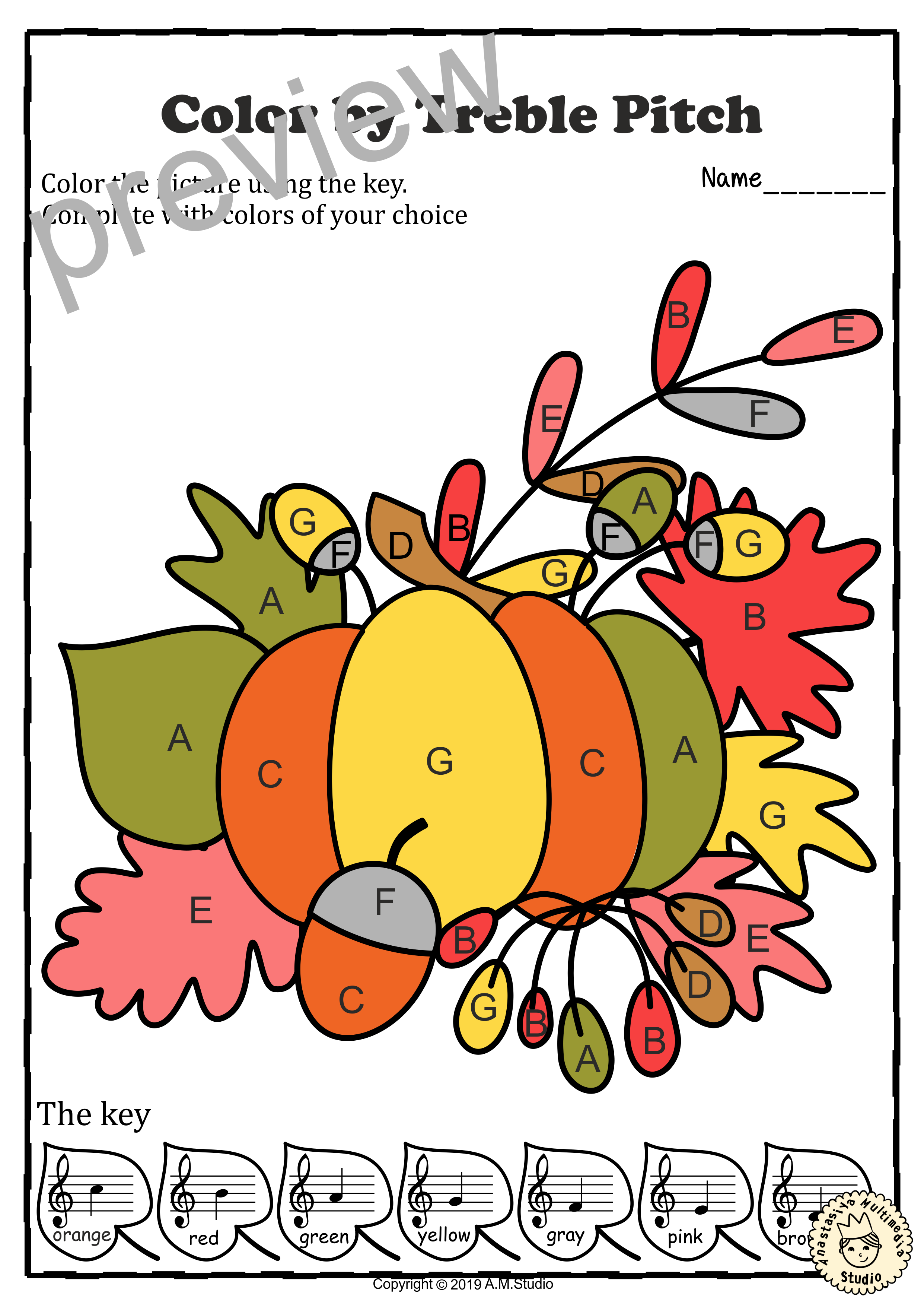 Musical Coloring Pages For Fall Color By Treble Pitch