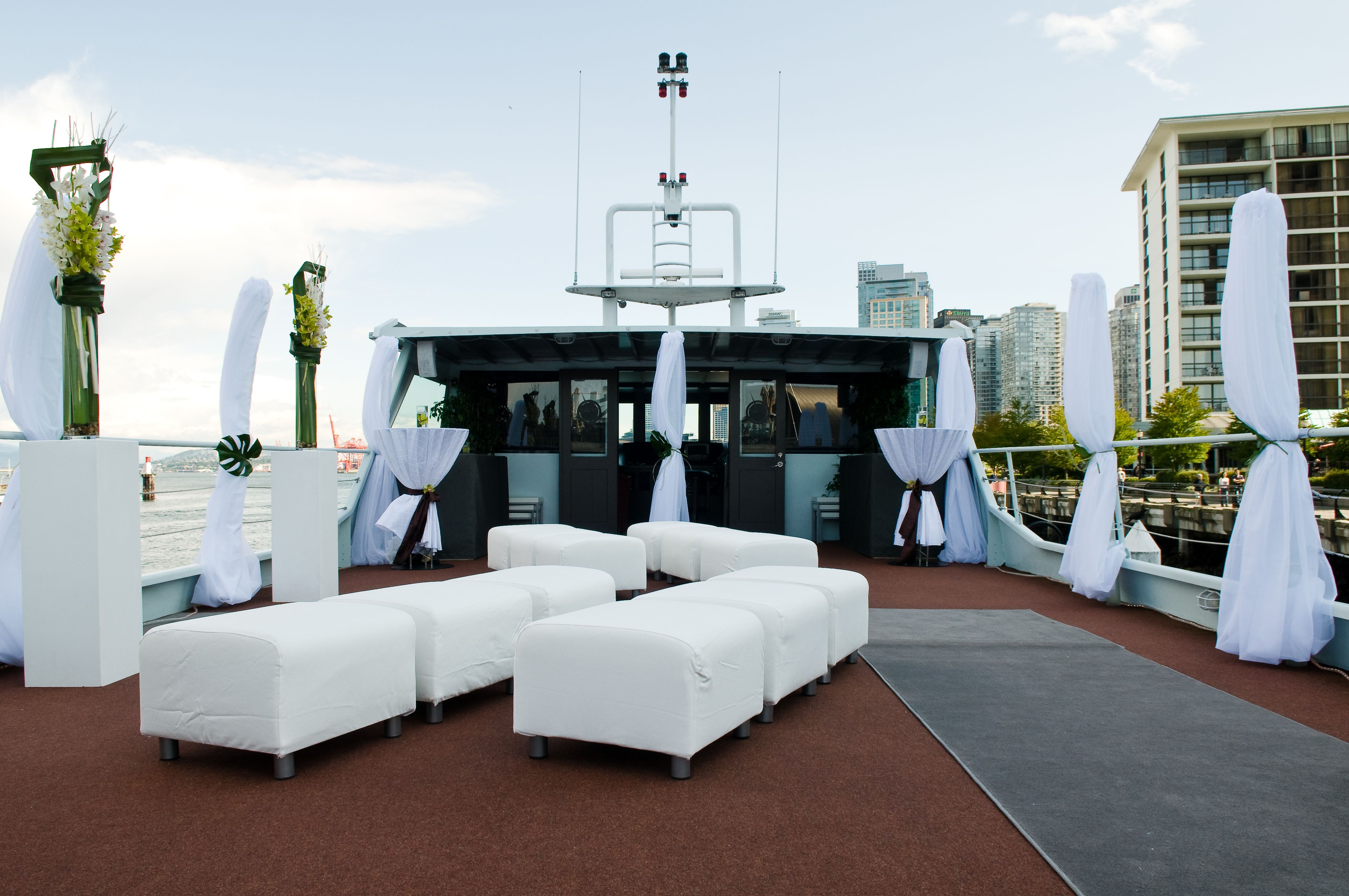 The sky deck aboard The Wedding Yacht