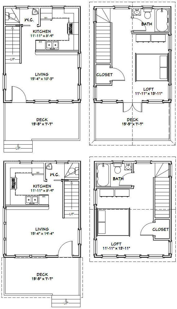 16x20 Houses PDF Floor Plans 569 sq ft by ExcellentFloorPlans | tiny