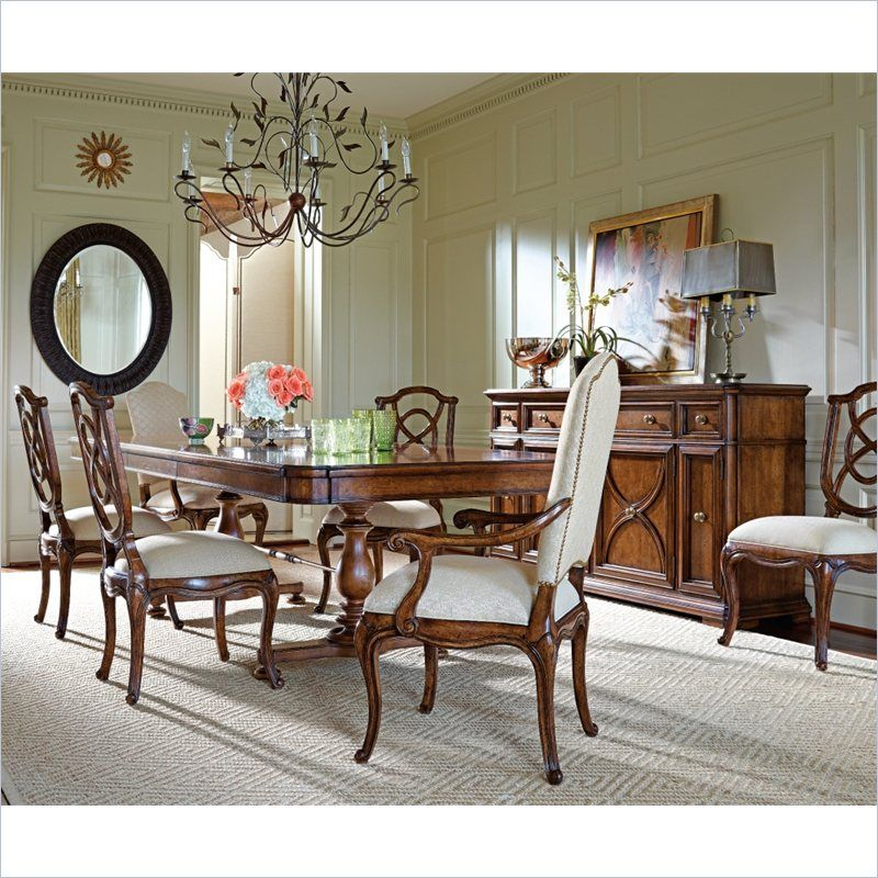 All Wood Dining Room Chairs: Stanley Furniture Arrondissement Famille 7 Piece Dining
