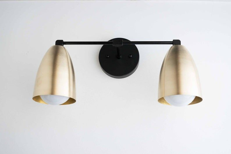 Photo of Modern Brass Fixture –  Bathroom Lighting – Brass Vanity Lamp – Wall Light Brass – Mid Century Modern Wall Fixture – Model No. 8289