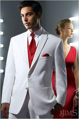 La Strada white tux with red vest.  e75d8d1bdff