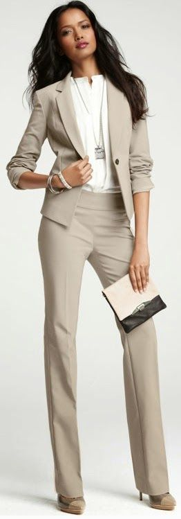 35a83c7553a Women wearing nude pant suit with wide legged slacks. Minimal