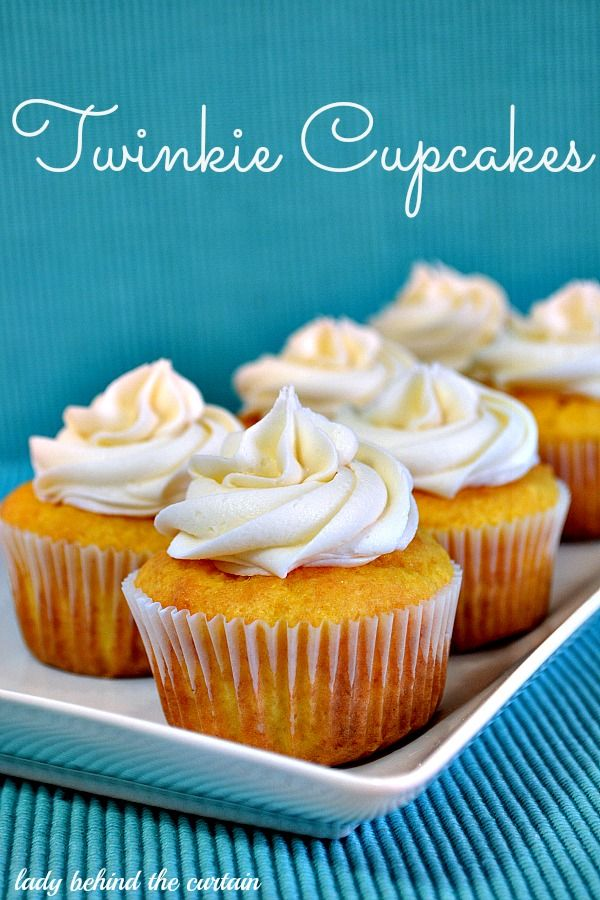 Twinkie Cupcakes with Marshmallow Filling and Buttercream