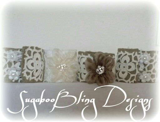 Cuff braclets made with vintage dolies and burlap linen!