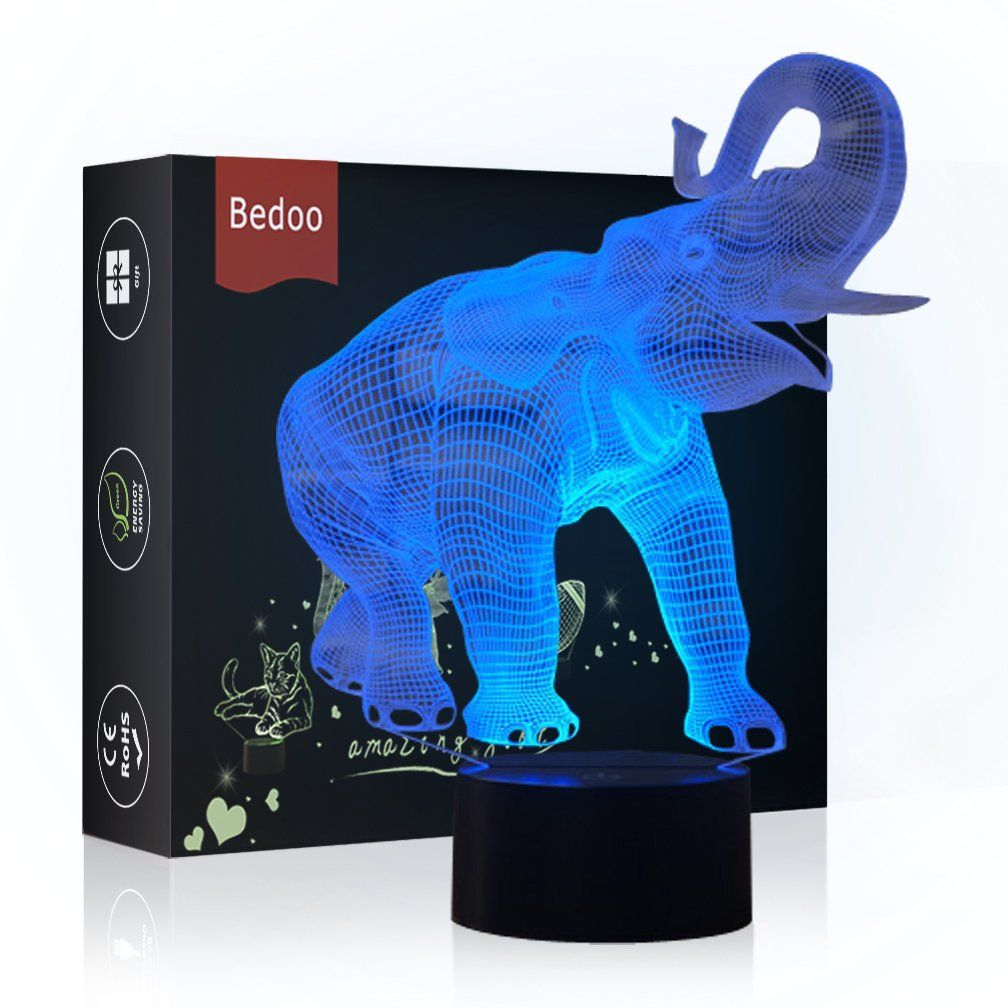 Nchance Christmas Gift Magic Elephant Lamp 3d Illusion 7 Colours Touch Switch Usb Insert Led Li Elephant Lamp Elephant Night Light Christmas Elephant