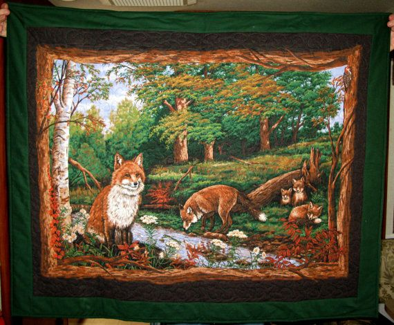 "Fox family lap quilt measures about 46""x38"" and sells for $75"