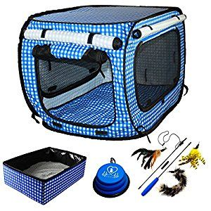 Amazon Com Pet Fit For Life Collapsible Cat Bed X2f House X2f Carrier With Portable Litter Box And Bonus Pet Fit For Cat Cages Pet Booster Seat Litter Box