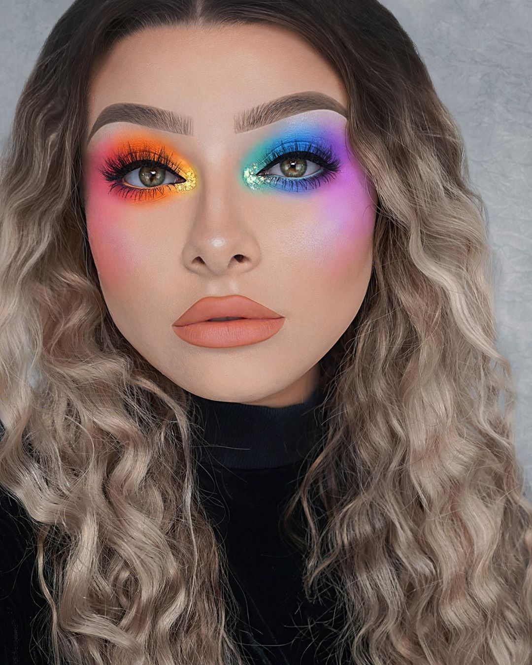 "Jessica-Rose Silicz on Instagram: ""Rainbow smokey eyes 🌈 #Pride #LoveIsLove 🌈❤️ Inspired by the amazing @Mianjelica 👑😍 • • Makeup details: 🧡 Orange eye -…"""