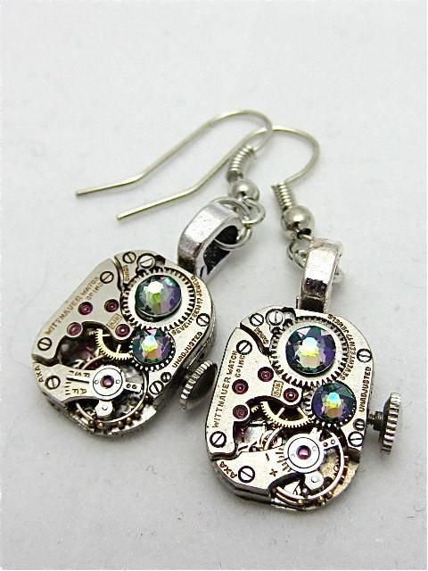 Steampunk earrings - smokey A/B - Steampunk jewelry made with real vintage watch parts #vintagewatches