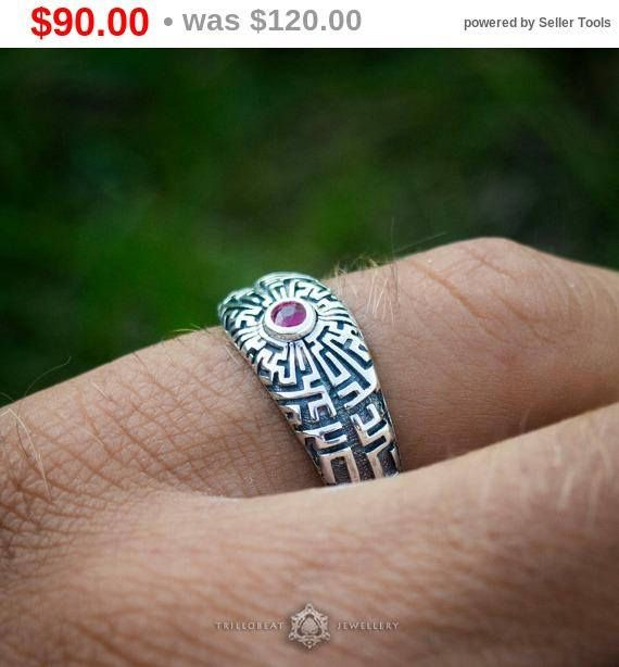 Sterling Silver Ring Labyrinth Multistone Ring Nature Engagement