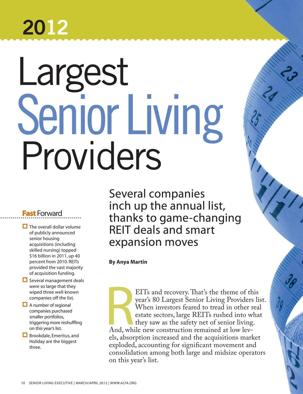 ALFA 2012 Largest Senior Living Providers List (With