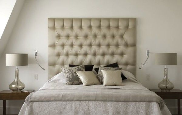 Bedroom Design Ideas For Married Couples Using Wall Mounted Headboards With  Diy Tufted Buttons Also Bedside Led Reading Light Over Small End Tables