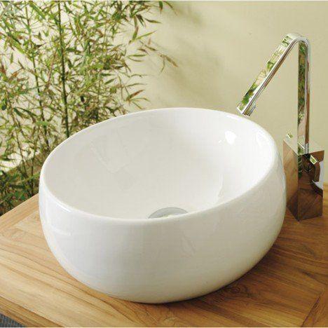 Vasque à poser céramique Diam38 cm blanc Lune Future salle de - Meuble Vasque A Poser Salle De Bain