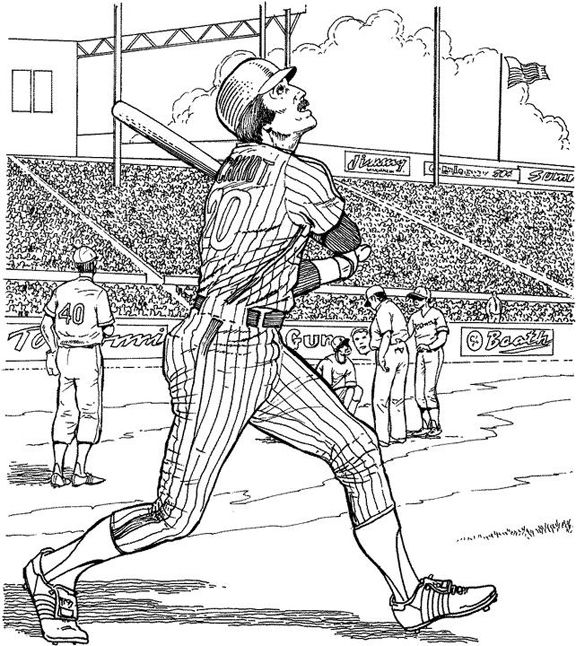 Yankee Batter Baseball Coloring Page Purple Kitty Baseball