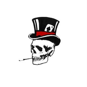 left smoking skull with top hat sticker