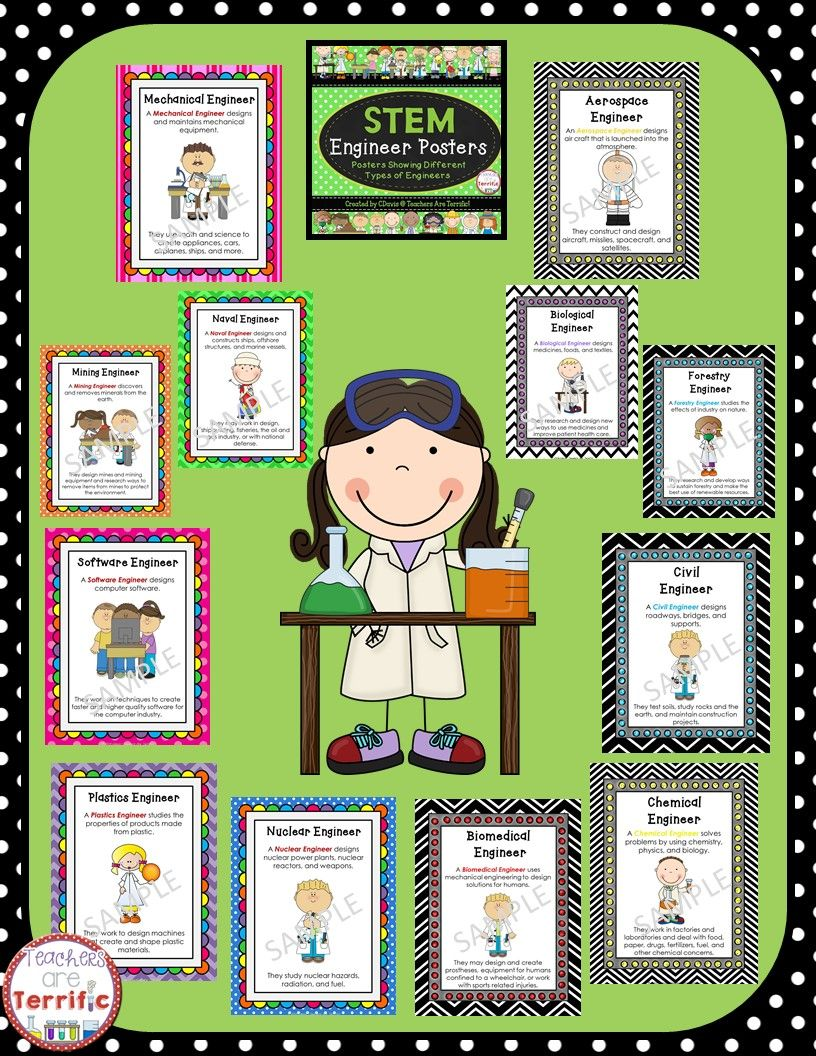 STEM Engineer Posters in Primary Colors | Science classroom, Kinder ...