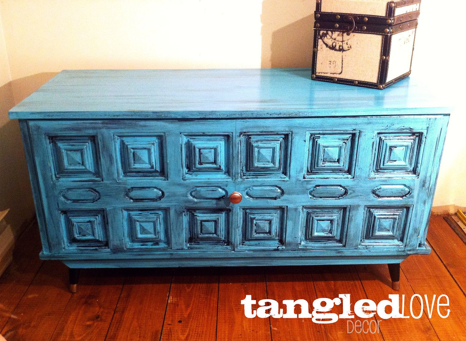 Chest Coffee Table Trunk Shabby Chic Turquoise By Tangledlove