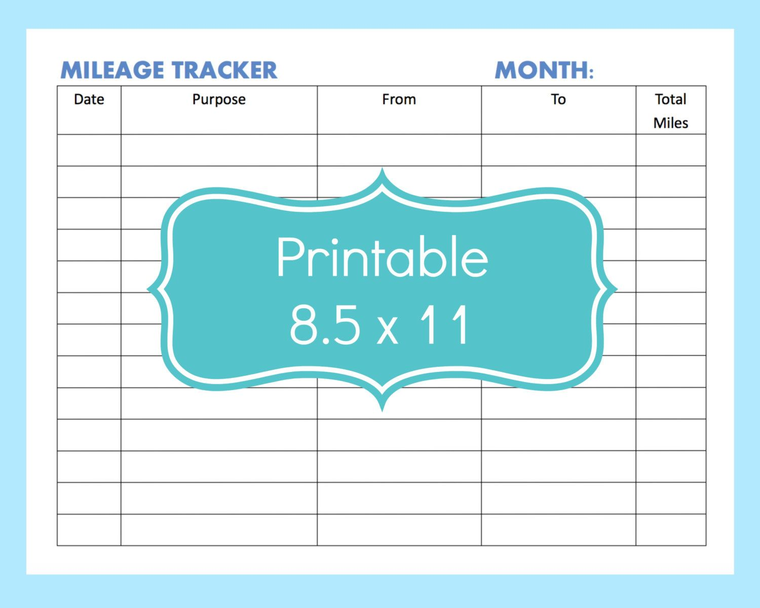 mileage tracker form printable printable mileage tracker mileage