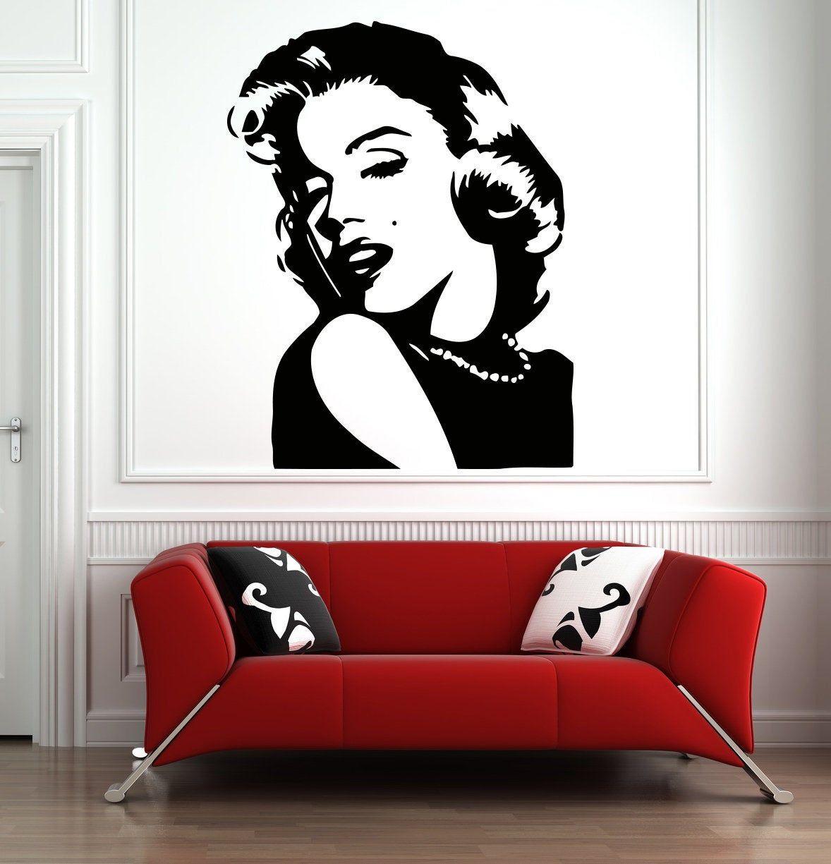 Marilyn Monroe Wall Decal Beautiful Woman Wall Decor Beauty Etsy In 2021 Salon Wall Art Girls Wall Stickers Wall Decals