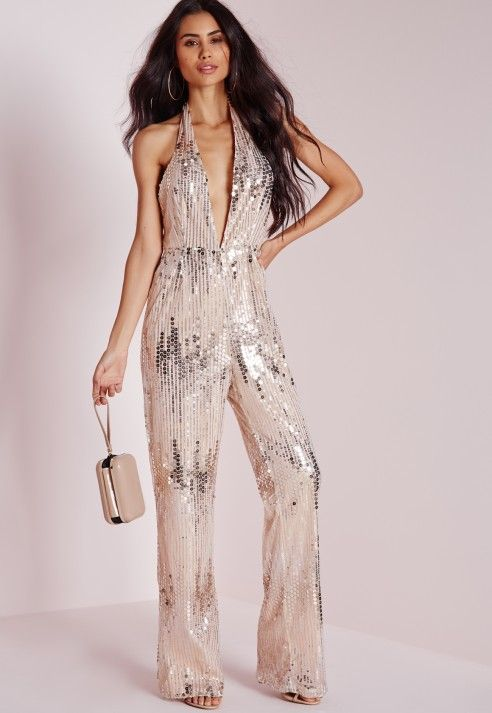 Gold Sequin Sleeveless Jumpsuit with V-Neckline, Other, sequin ...