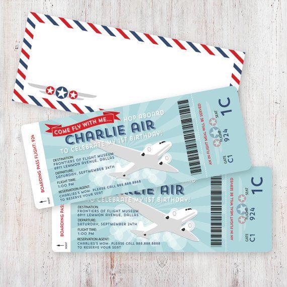 Airplane Birthday Invitation Boarding Pass and by HankandPetunia